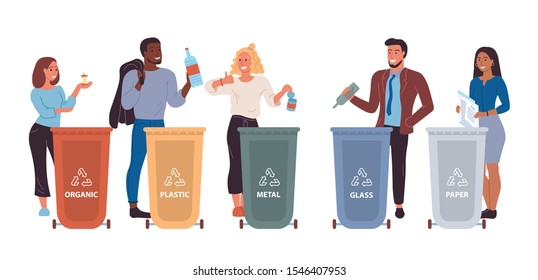 A group of people sorts the garbage. They are happy to protect nature Positive characters who care about the environment and put the garbage in for recycling. Isolated Flat Cartoon Vector Illustration