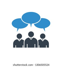 group of people and speech bubbles icon