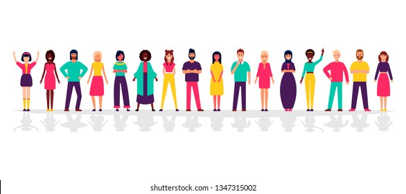 A group of people standing on a white background. Business people and business women in flat design characters.