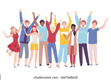 Group of People Standing Together with Raising Hands, Happy Young Men and Women Having Fun or Celebrating Success Flat Vector Illustration