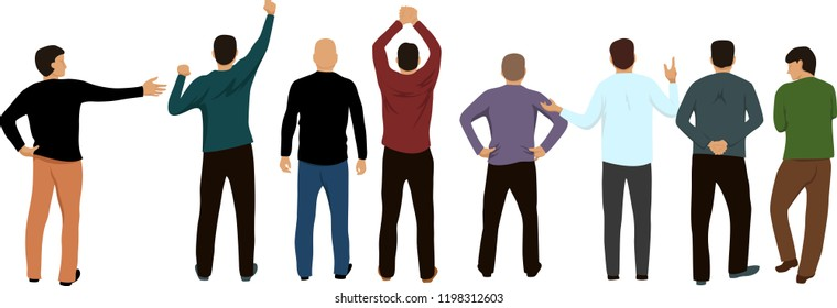 a group of people stands with their backs. people in different poses