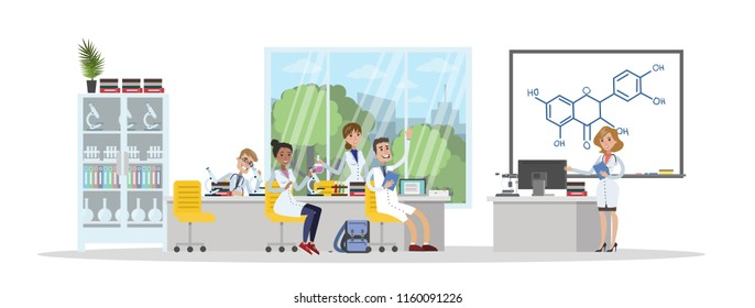Group of people study in the university chemistry. Professor giving a lecture to students. Studying for diploma. Isolated vector flat illustration