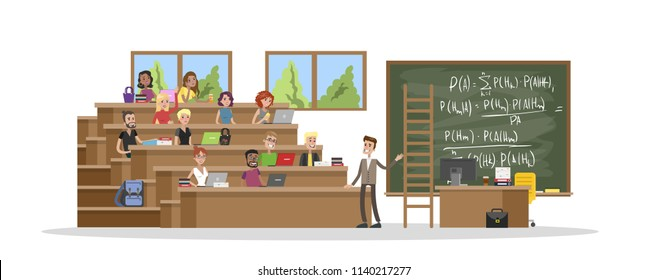 Group of people study in the university with laptop computers. Professor giving a lecture to students. Studying for diploma. Isolated vector flat illustration