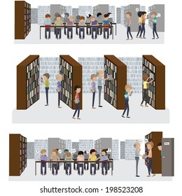 Group Of People Studying At The Library - Vector Illustration, Graphic Design Editable For Your Design