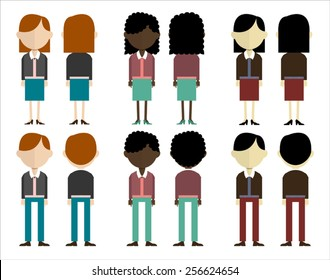 group of people in three different skin colors. front and back view.