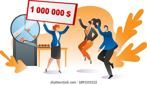 Group people together celebrate winning big jackpot lottery, female male jump hand up flat vector illustration, isolated on white. Television host hold million dollar cheque, tv raffle show.
