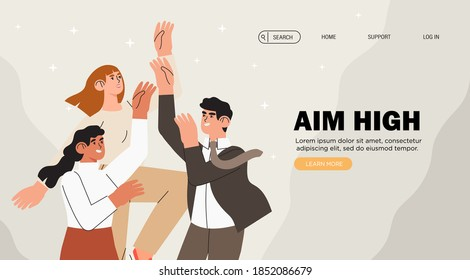 Group of people try to reach goals and aim high. Individuals or employees competing for better job position, leadership or coworkers for the same promotion. Banner with coworkers target aspiration.