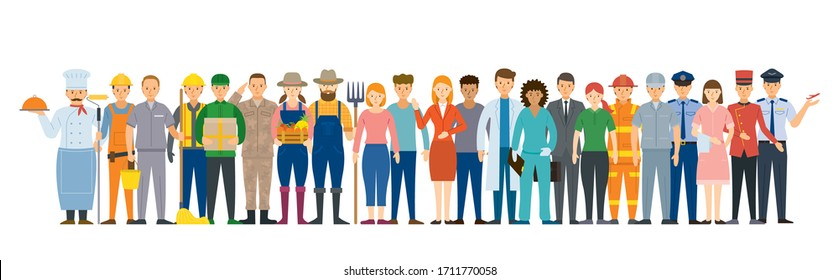 Group of People Various Professions and Occupations, Career, Worker, Labor and Government Officer