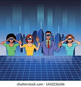 group of people with virtual reality headset avatar cartoon character with futuristic cityscape background and skyscrapper vector illustration graphic design