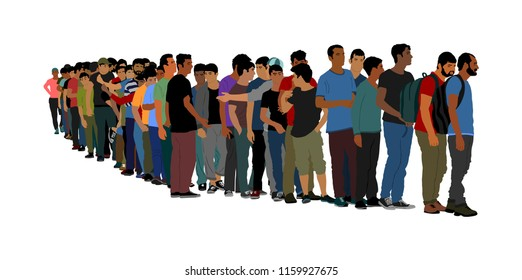 Group of people waiting in line vector isolated on white background. Group of refugees, migration crisis in Europe. Turkey war migration waves going to Schengen Area. Border situation in EU, or Mexico