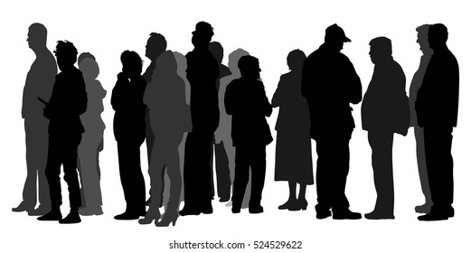 Group of people waiting in line vector silhouette isolated on white background. Black Friday, crowd in front of market or ATM machine. Nervous people are waiting for the bank opening. Refugees border.