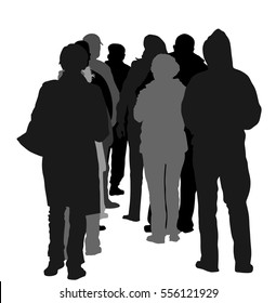 Group of people waiting in line vector silhouette isolated on white background. Back view. Black Friday situation in front of market before opening. Border situation, big crowd work stoppage, collapse