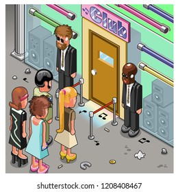 Group of people waiting outside in a queue to enter a club, entrance door guarded by security personnel (isometric illustration)