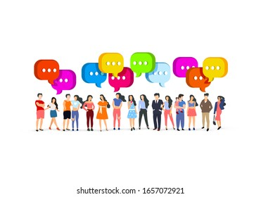 A group of people walk and relax with their family, happy people chat. Vector illustration
