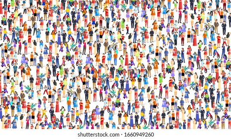 A group of people walk and relax with their family, happy people background. Vector illustration