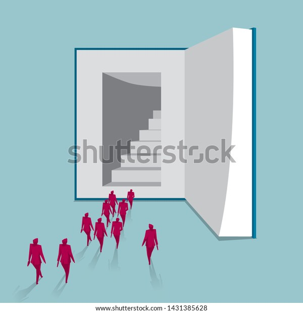A group of people walked into the book. Isolated on blue background.