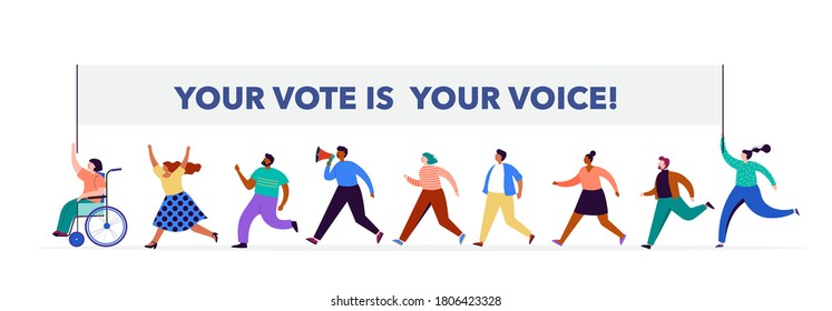 Group of people, walking with flags to elections. Crowd of women and men at a demonstration. Concept for election campaign, voting theme vector background.