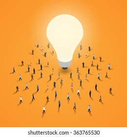 A group of people walking to a light bulb. It 's a brainstorm, inspiration, idea business concept. Isometric illustration vector EPS 10.