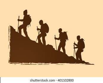 A group of people walking on mountain graphic vector.