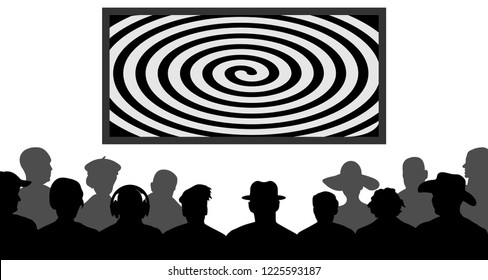 Group of people, watching TV, screen spiral. Crowd of people in the auditorium. Audience cinema, theater. Public presentation, anonymous faces. Viewers celebrity. Silhouette vector isolated