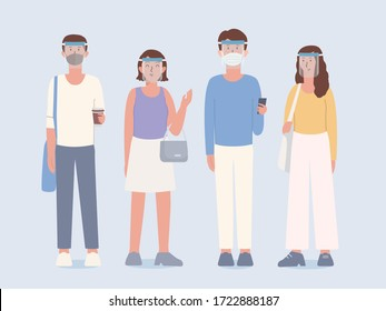 Group of People wearing clear Plastic face shield and surgical mask covers the face with clothing in lifestyle that is a New normal of now peoples. Illustration about the new culture of humans.
