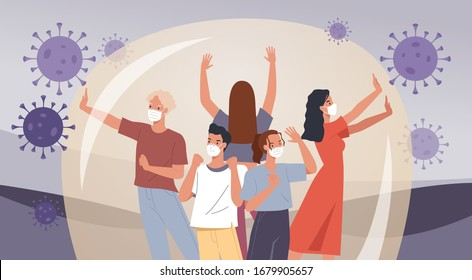 Group of people wearing face masks. Human protection from coronavirus. Virus preventive measures. Vector illustration in a flat style