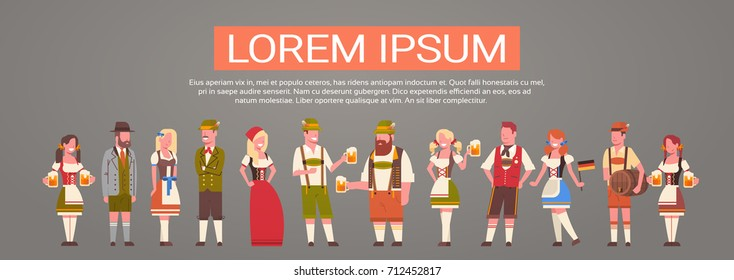 Group Of People Wearing German Traditional Clothes Man And Woman Holding Beer Mugs Oktoberfest Party Concept Flat Vector Illustration