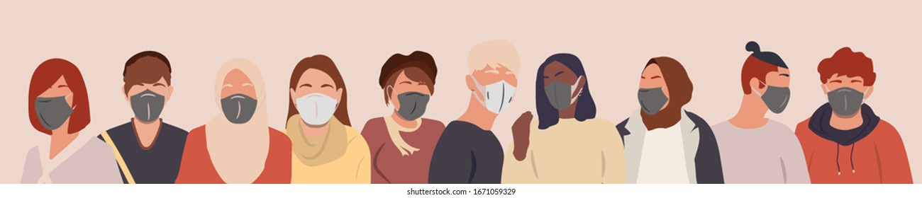 Group of people wearing medical masks to prevent disease, flu, air pollution.  Coronavirus in China. Vector illustration in a flat style.