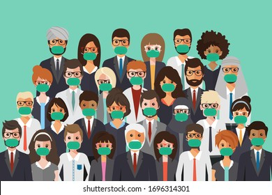 Group of people wearing medical masks to prevent disease, flu, air pollution, contaminated air, world pollution. Vector illustration