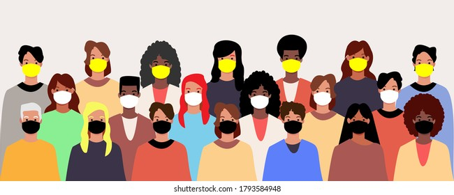 Group of people wearing medical masks to prevent disease, air pollution, contaminated air, world pollution. Vector illustration