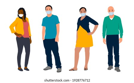 Group of people wearing medical masks to prevent disease, flu, air pollution, contaminated air, world pollution, coronavirus. Vector illustration in a flat style