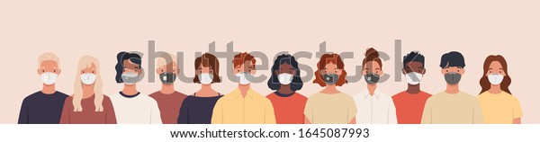 Group of people wearing medical masks to prevent disease, flu, air pollution, contaminated air, world pollution. Vector illustration in a flat style