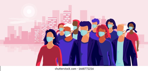 Group of people wearing protection medical face mask to protect and prevent virus, disease, flu, air pollution, contamination. Vector illustration with city skyline.