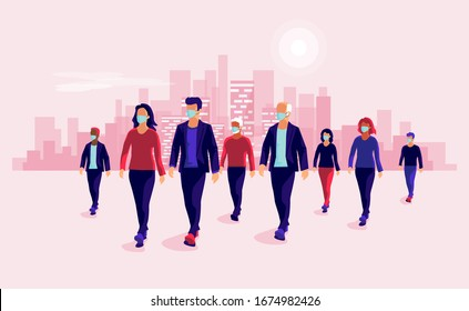 Group of people wearing protection medical face mask to protect and prevent virus, disease, flu, air pollution, contamination. Old man woman walking. Vector illustration with urban city skyline.