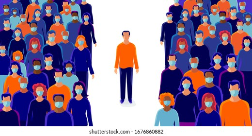 Group of people wearing protection medical face mask to protect and prevent virus, disease, flu, air pollution, contamination, corona. Man person alone standing in isolation in distance from others.