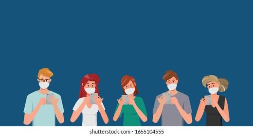 Gruppe von Menschen, die eine Schutzmaske als Schutz gegen übertragbare Infektionskrankheiten und Luftverschmutzung tragen. Einzige Vektorillustration, die Zeichentrickfigur.