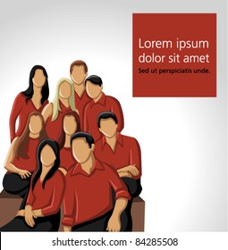 Group people wearing red clothes