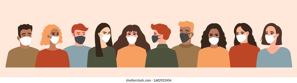 Group of people in white and black medical face mask, coronavirus, covid-19. Season virus and quarantine. Vector illustration, seamless pattern in modern flat style, isolated on light background.