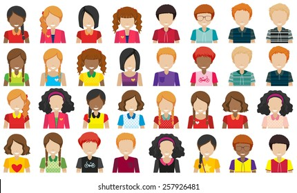Group of people without faces on a white background