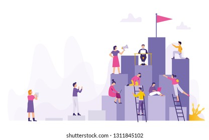 a group of people work together towards a common point of success, teams from various fields of cooperation work towards the peak of success,  team target's achievement