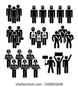 Group of People Worker from Different Profession. People Figure Pictogram Icons. Crowd signs.