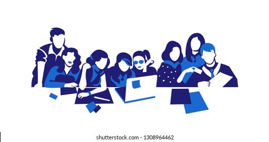 Group of people working continuous silhouette vector drawing. Students preparing for exams, doing homework hand drawn characters. Coworking. Job meeting, discussion. Cartoon flat illustration isolated