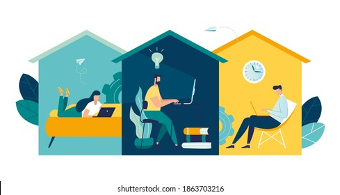 group of people working from home on the internet online, creative space, self-isolation, freelancer working on laptop vector, vector illustration