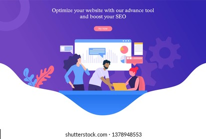 group of people working on SEO optimization, business people discuss , 3d vector illustration concept, digital meeting.  Can use for, landing page, template, ui, web, homepage, poster, banner, flyer
