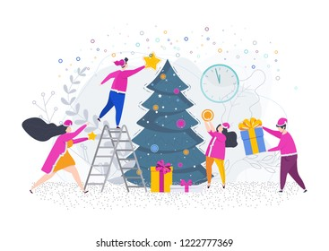 A group of people, young men and women decorate a Christmas tree. Greeting card for Merry Christmas and Happy New Year. Illustration for flyer and booklet, brochure and website.