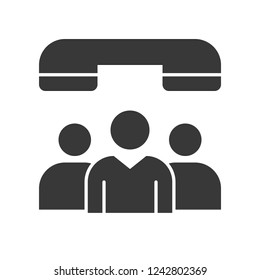 group of peoples and phone, network communication solid icon concept