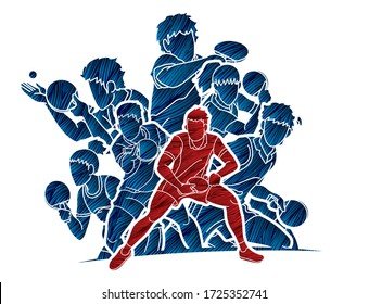 Group of Ping Pong players, Table Tennis players action cartoon sport graphic vector.