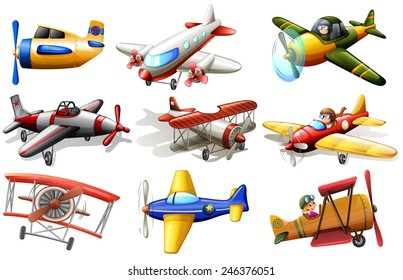 A group of planes on a white background