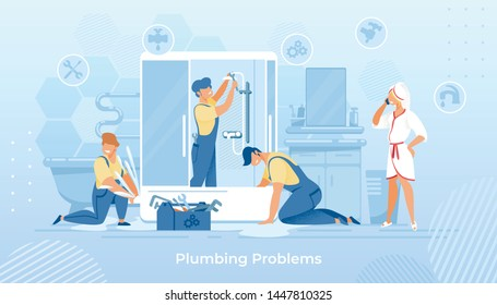 Group of Plumbers Fixing Shower Cabin in Bathroom. Woman in Bath Robe Calling to Service. Workers in Overalls, Husband on an Hour, Masters Help with Broken Technics. Cartoon Flat Vector Illustration