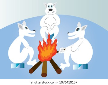 A group of polar bears warm themselves at the fireplace in the Cold Winter Evening